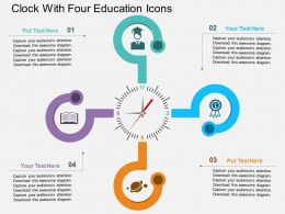 db Clock With Four Education Icons Flat Powerpoint Design