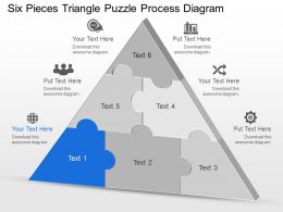 Db Six Pieces Triangle Puzzle Process Diagram Powerpoint Template