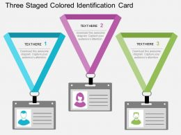 Db Three Staged Colored Identification Card Flat Powerpoint Design