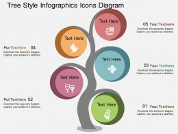 db Tree Style Infographics Icons Diagram Flat Powerpoint Design
