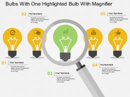 dc_bulbs_with_one_highlighted_bulb_with_magnifier_flat_powerpoint_design_Slide01