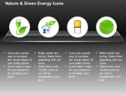 Dc Green Plug With Home Battery And Green Globe For Ecology And Green Energy Ppt Icons Graphics