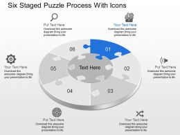 Dc Six Staged Puzzle Process With Icons Powerpoint Template