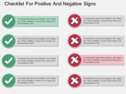 dd Checklist For Positive And Negative Signs Flat Powerpoint Design