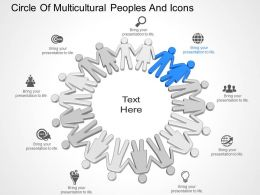 Dd Circle Of Multicultural Peoples And Icons Powerpoint Template