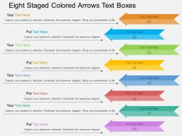 dd Eight Staged Colored Arrows Text Boxes Flat Powerpoint Design