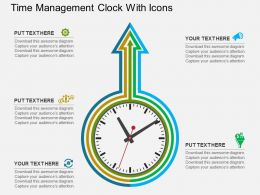 Dd Time Management Clock With Icons Flat Powerpoint Design