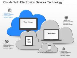 De Clouds With Electronics Devices Technology Powerpoint Template