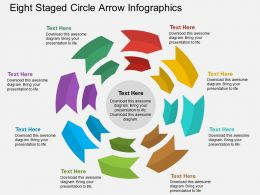 de Eight Staged Circle Arrow Infographics Flat Powerpoint Design