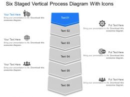 De Six Staged Vertical Process Diagram With Icons Powerpoint Template