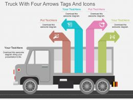 de Truck With Four Arrows Tags And Icons Flat Powerpoint Design