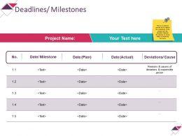 Deadlines Milestones Powerpoint Slide Background