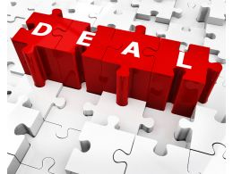 Deal On Red Puzzle Pieces Stock Photo