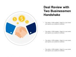 Deal Review With Two Businessmen Handshake