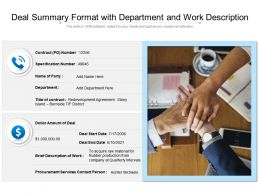 Deal Summary Format With Department And Work Description