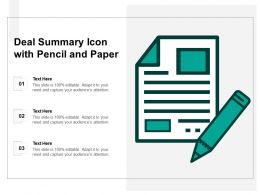 Deal Summary Icon With Pencil And Paper