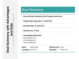 Deal Summary With Advantages And Date