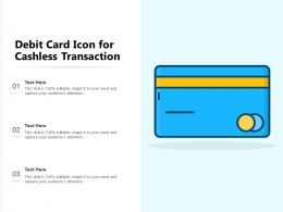 Debit Card Icon For Cashless Transaction