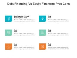 Debt Financing Vs Equity Financing Pros Cons Ppt Model Graphics Download Cpb