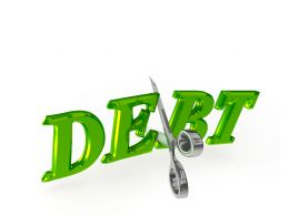 Debt Graphic With Scissor With Cutting Action Stock Photo