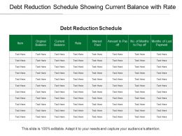Debt Reduction Schedule Showing Current Balance With Rate