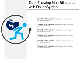 Debt Showing Man Silhouette With Dollar Symbol