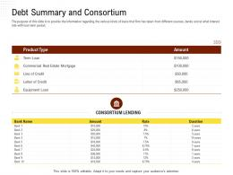 Debt Summary And Consortium Rethinking Capital Structure Decision Ppt Powerpoint Model