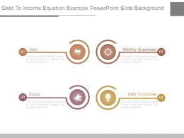 Debt To Income Equation Example Powerpoint Slide Background