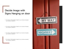 Decide Image With Signs Hanging On Door