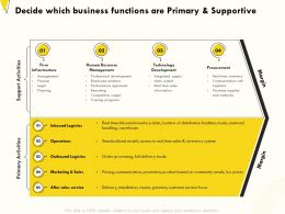 Decide Which Business Functions Are Primary And Supportive Trucks Ppt Powerpoint Presentation Summary Grid