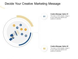 Decide Your Creative Marketing Message Option Ppt Powerpoint Presentation Summary Gallery