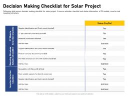 Decision Making Checklist For Solar Project Checked Ppt Powerpoint Presentation Pictures