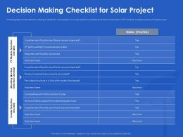 Decision Making Checklist For Solar Project Code Ppt Powerpoint Layouts Visuals