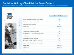 Decision Making Checklist For Solar Project Market Ppt Powerpoint Presentation Pictures