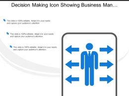 Decision Making Icon Showing Business Man Silhouette With 6 Arrows