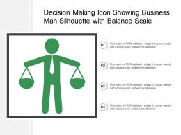 Decision Making Icon Showing Business Man Silhouette With Balance Scale
