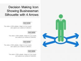 Decision Making Icon Showing Businessman Silhouette With 4 Arrows