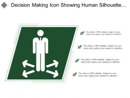 Decision Making Icon Showing Human Silhouette With 4 Arrows