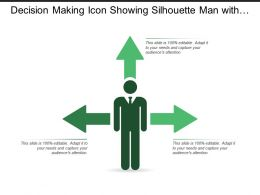 Decision Making Icon Showing Silhouette Man With 3 Options