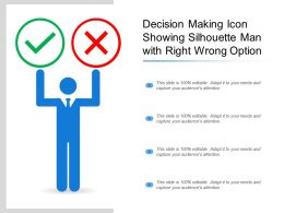 Decision Making Icon Showing Silhouette Man With Right Wrong Option