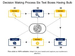 Decision Making Process Six Text Boxes Having Bulb