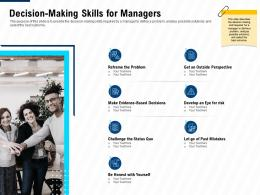 Decision Making Skills For Managers Leadership And Management Learning Outcomes Ppt Icon