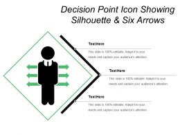 Decision Point Icon Showing Silhouette And Six Arrows