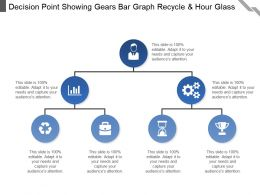 Decision Point Showing Gears Bar Graph Recycle And Hour Glass