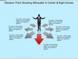 Decision Point Showing Silhouette In Center And Eight Arrows