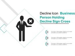 Decline Icon Business Person Holding Decline Sign Cross
