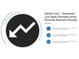 Decline Icon Decrement Low Sales Decrease Arrow Encircles Business Process