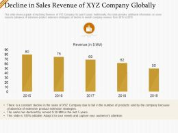 Decline In Sales Revenue Of Xyz Company Globally Ppt Outline