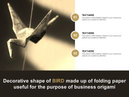 Decorative Shape Of Bird Made Up Of Folding Paper Useful For The Purpose Of Business Origami