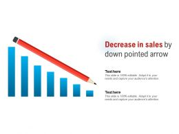 Decrease In Sales By Down Pointed Arrow
